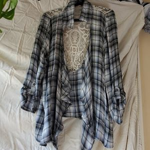 Flannel cardigan with lace blue tones